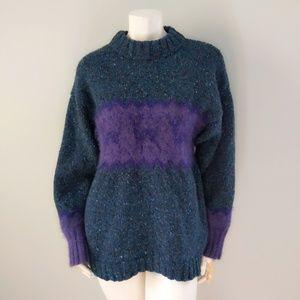 Vtg Finland Wool Mohair Reindeer Ski Sweater M L